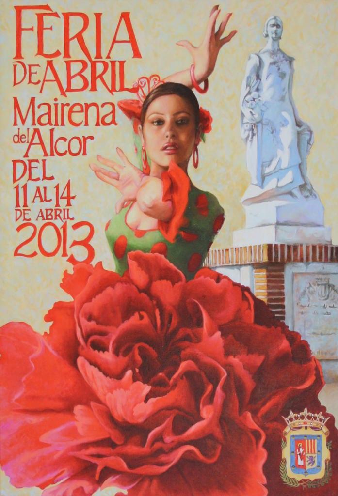 """Cartel de Feria de Mairena 2013 ganador: """"Claveles y faralaes""""."""