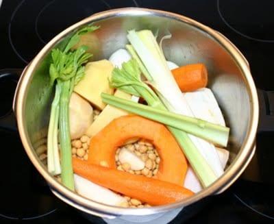 F-Caldo de verdura y morcillo